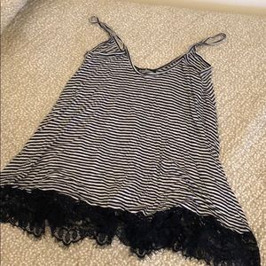 Striped tank top with lace bottom